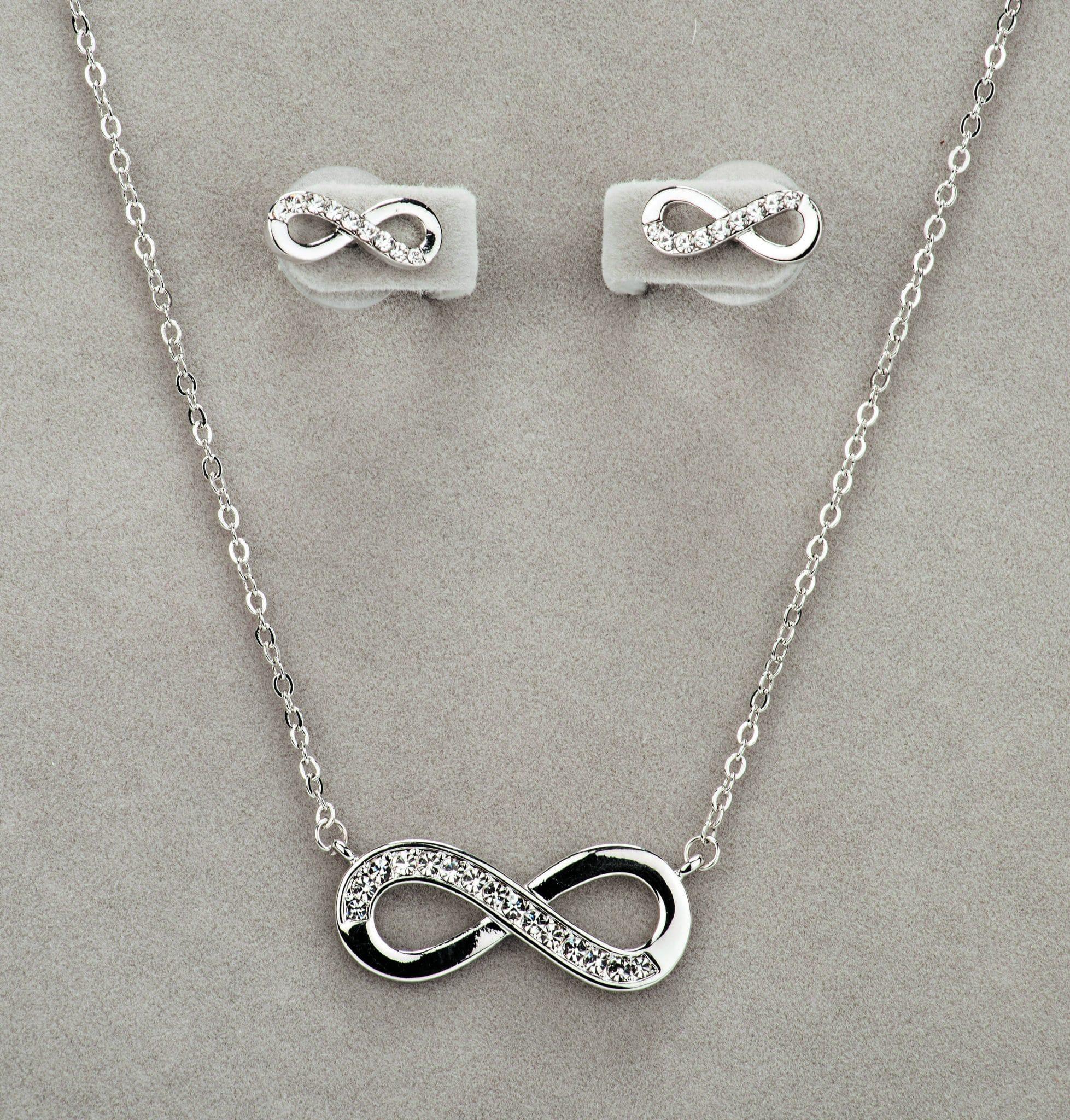 Newgrange Living Silver Infinity Necklace & Earring Set