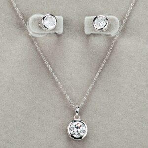 Newgrange Living Silver Large White Stone Necklace & Earring Set