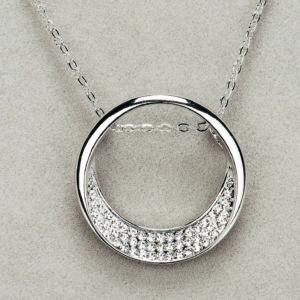 Newgrange Living Silver Half Moon Diamante Pendant