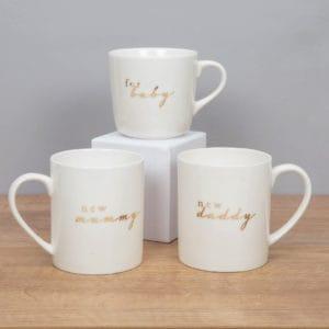 new mummy, daddy, baby mug set
