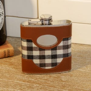engravable chequered hip flask
