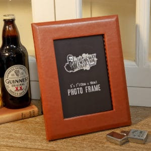 "brown faux leather picture frame 5"" x 7"""