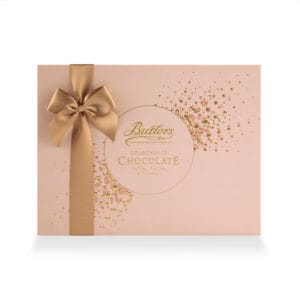 Pink Butlers Chocolate box with tan ribbon