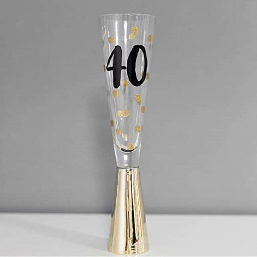 40th Prosecco Glass With Metallic Gold