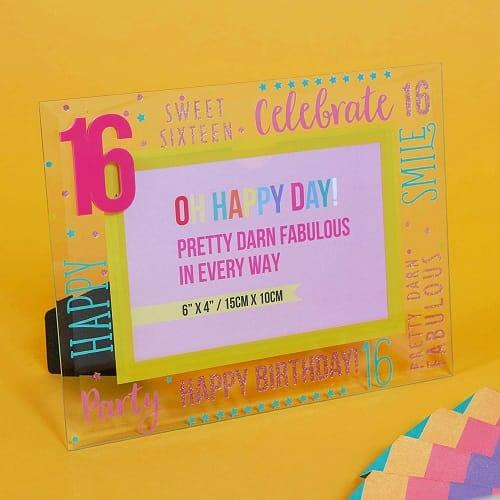 16th Birthday Glass Photo Frame - Pink
