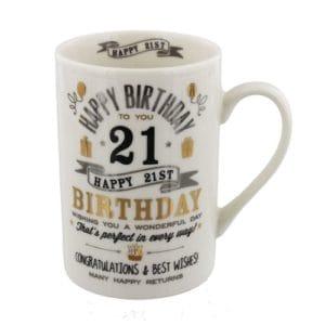 Silver & Gold 21st Birthday Mug