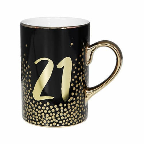 21st Birthday Birthday Mug with Metallic Gold