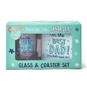 Best Dad Whiskey Glass & Coaster Set