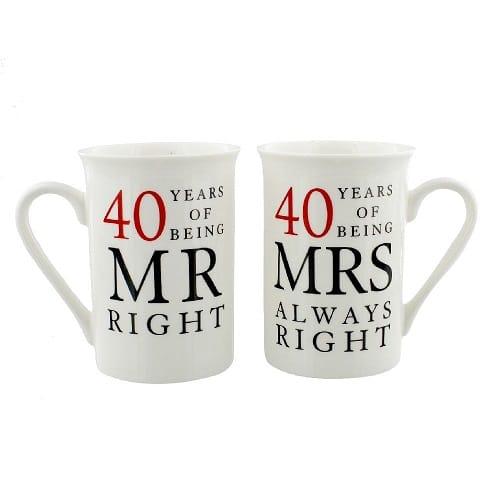 Mr & Mrs Mug Set - 40 Years