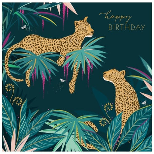 Sara Miller Leopards Green Jungle Birthday Card