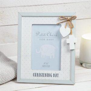 Blue Christening Photo Frame